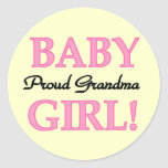 Proud Grandma Baby Girl Tshirts and Gifts Round Stickers