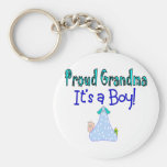 "Proud Grandma, ""It's a Boy!"" Gifts Keychains"
