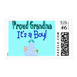 """Proud Grandma, """"It's a Boy!"""" Gifts Stamp"""