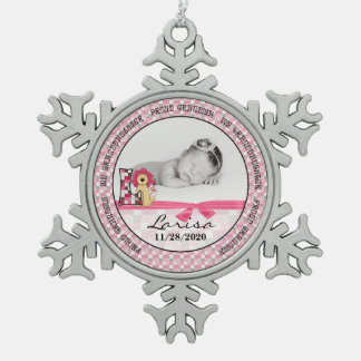 Proud Grandma | Monogram L | Pink New Baby Snowflake Pewter Christmas Ornament