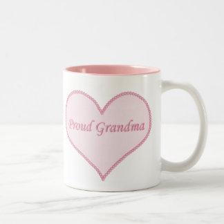 Proud Grandma Mug, Pink Two-Tone Coffee Mug