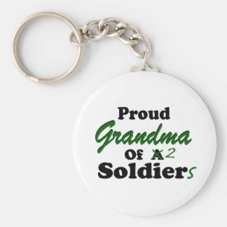 Proud Grandma Of 2 Soldiers Keychain