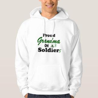 Proud Grandma Of 3 Soldiers Hoodie