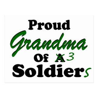 Proud Grandma Of 3 Soldiers Postcard
