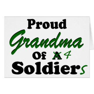 Proud Grandma of 4 Soldiers Card