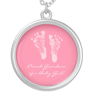 Proud Grandma of a Baby Girl Pink Footprints Silver Plated Necklace