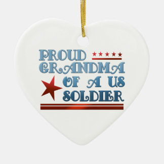 Proud Grandma of a US Soldier Double-Sided Heart Ceramic Christmas Ornament