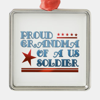Proud Grandma of a US Soldier Square Metal Christmas Ornament