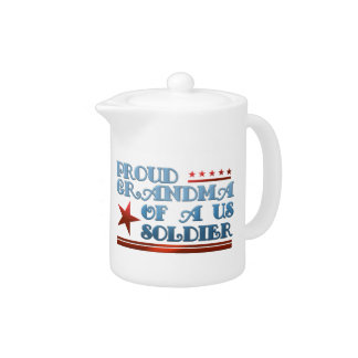 Proud Grandma of a US Soldier Teapot