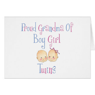 Proud Grandma of Boy Girl Twins Greeting Cards