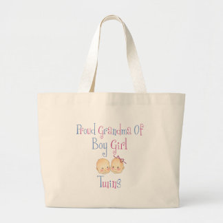 Proud Grandma of Boy Girl Twins Large Tote Bag