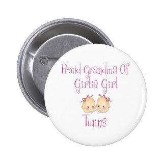 Proud Grandma of Girl Twins Button