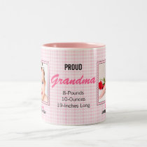 Proud Grandma Pink Polka Dots with Two Baby Photos Two-Tone Coffee Mug