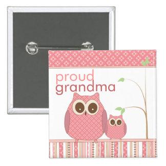 Proud Grandma to Be & Baby Girl Owl Pinback Button
