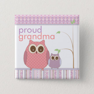 Proud Grandma to Be & Baby Owl Pinback Button
