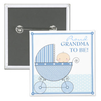 Proud Grandma to Be Sweet Baby Boy Blue Carriage Button