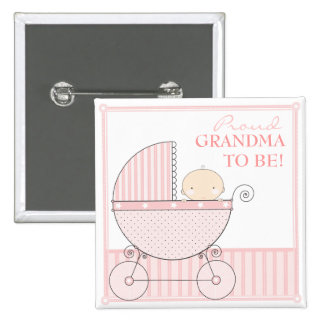 Proud Grandma to Be Sweet Baby Girl Pink Carriage Pins