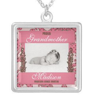 Proud Grandmother Baby's Photo in Pink and Brown Silver Plated Necklace