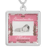Proud Grandmother Baby's Photo in Pink and Brown Square Pendant Necklace