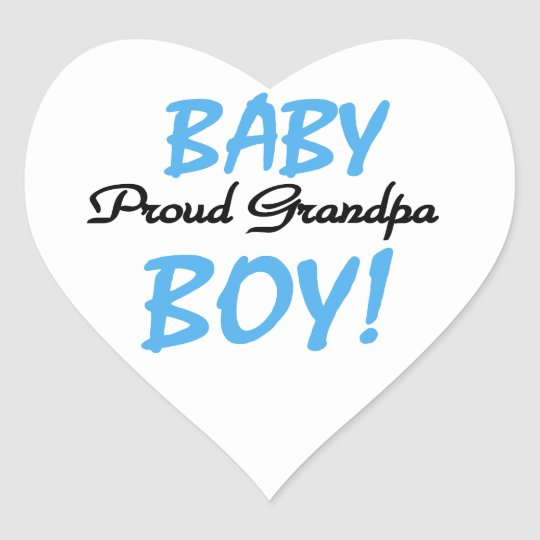 Proud Grandpa Baby Boy T-shirts and Gifts Heart Sticker