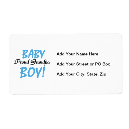 Proud Grandpa Baby Boy T-shirts and Gifts Custom Shipping Labels
