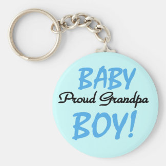 Proud Grandpa Baby Boy Tshirts and Gifts Basic Round Button Keychain