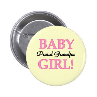 Proud Grandpa Baby Girl T-shirts and Gifts Button
