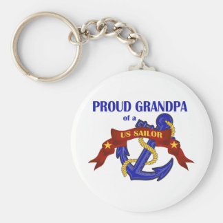 Proud Grandpa of a US Sailor Basic Round Button Keychain