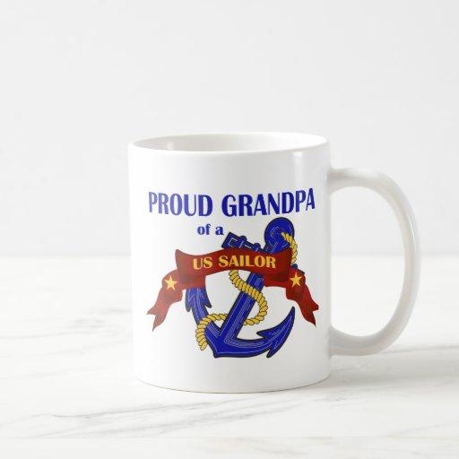 Proud Grandpa of a US Sailor Coffee Mugs