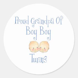 Proud Grandpa Of Boy Twins Classic Round Sticker