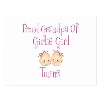 Proud Grandpa Of Girl Twins Postcard