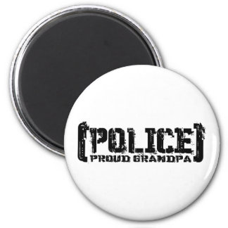 Proud Grandpa - POLICE Tattered 2 Inch Round Magnet