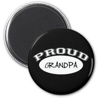 Proud Grandpa (White) 2 Inch Round Magnet