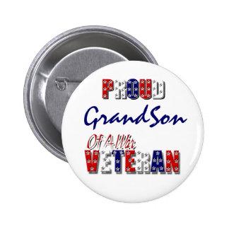 Proud grandson war veteran pinback button