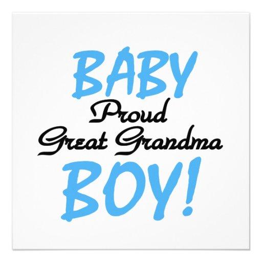 Proud Great Grandma Baby Boy Gifts Custom Invite