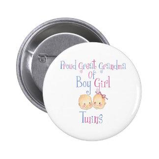 Proud Great Grandma Of Boy Girl Twins Button