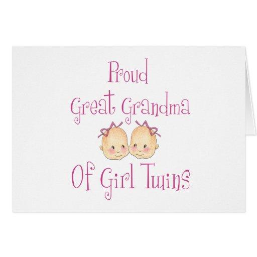 Proud Great Grandma Of Girl Twins Card