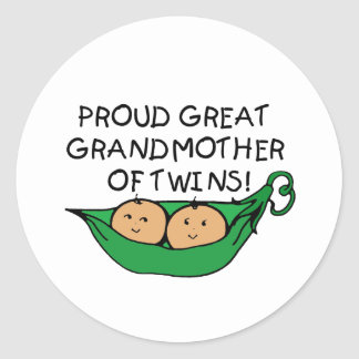 proud Great Grandmother Twin Pod Classic Round Sticker