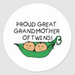 proud Great Grandmother Twin Pod Classic Round Sticker