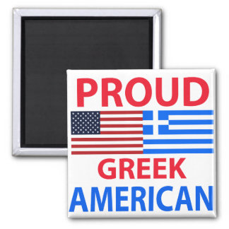 Proud Greek American 2 Inch Square Magnet