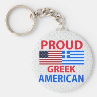 Proud Greek American Basic Round Button Keychain