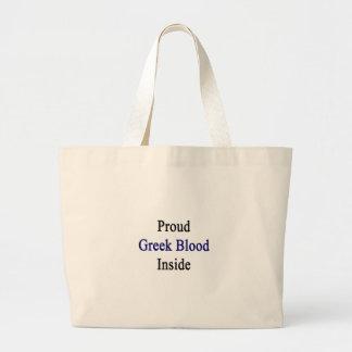 Proud Greek Blood Inside Large Tote Bag