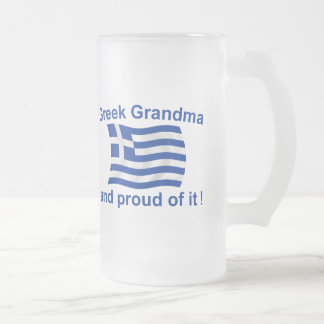 Proud Greek Grandma Frosted Glass Beer Mug