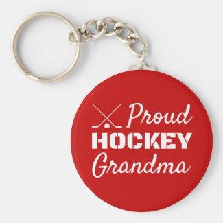 Proud Hockey Grandma keychain red