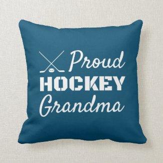 Proud Hockey Grandma Pillow blue