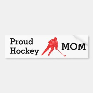 Proud hockey Mom bumper sticker - red player