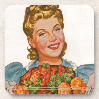 proud housewife with her dinner creation drink coaster