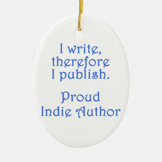 Proud Indie Author Double-Sided Oval Ceramic Christmas Ornament