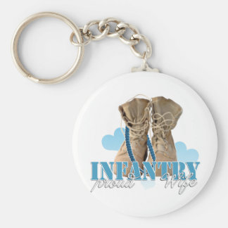 proud infantry wife basic round button keychain