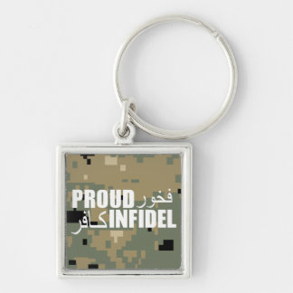 Proud Infidel Silver-Colored Square Keychain